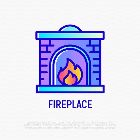 Fireplace thin line icon. Modern vector illustration.