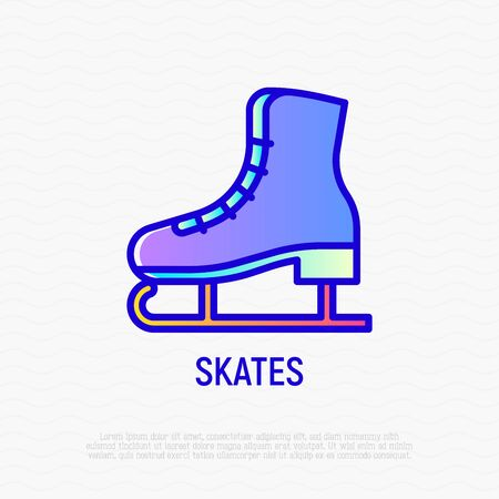 Skates thin line icon. Modern vector illustration of winter sports equipment.