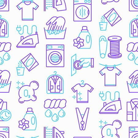 Laundry service seamless pattern with thin line icons: washing machine, spin cycle, drying machine, fabric softener, iron, handwash, washing powder, steaming, ozonation, repair. Vector illustration.