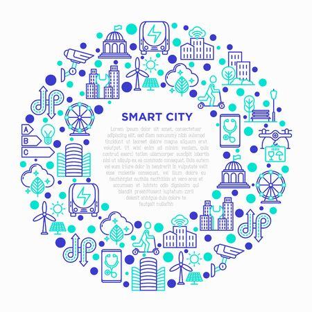 Concept de ville intelligente en cercle avec des icônes de ligne mince : énergie verte, urbanisme intelligent, mobilité efficace, zéro émission, transport électrique, vidéosurveillance. Illustration vectorielle, modèle de support d'impression.