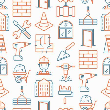 Construction seamless pattern with thin line icons: builder in helmet, work tools, brickwork, floor plan, plumbing, trowel, traffic cone, stepladder, jackhammer, wheelbarrow. Vector illustration.