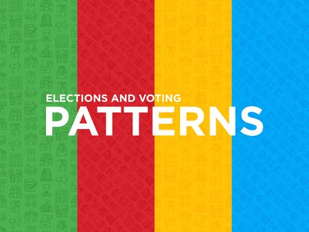 Four different Election and votings seamless patterns with thin line icons: voters, ballot box, inauguration, corruption, debate, president, political victory, propaganda, bribe. Vector illustration.