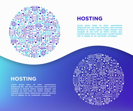 Hosting concept in circle with thin line icons: VPS, customer support, domain name, automated backup, SSD, control panel, secure server, local network, SSL. Modern vector illustration for print media.