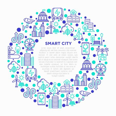 Smart city concept in circle with thin line icons: green energy, intelligent urbanism, efficient mobility, zero emission, electric transport, CCTV. Vector illustration, print media template.
