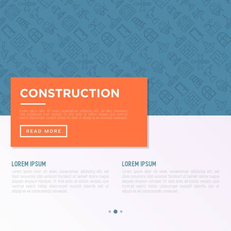 Construction concept with thin line icons: builder in helmet, work tools, brickwork, floor plan, plumbing, drill, trowel, traffic cone, stepladder, jackhammer. Vector illustration, web page template.