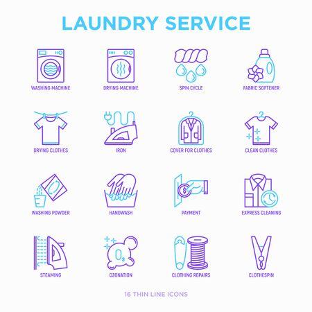 Laundry service thin line icons set: washing machine, spin cycle, drying machine, fabric softener, iron, handwash, washing powder, steaming, ozonation, repair, clothepin. Modern vector illustration.  イラスト・ベクター素材