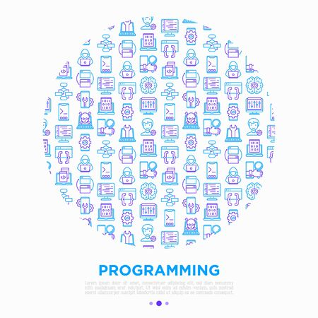 Programming concept in circle with thin line icons: developer, code, algorithm, technical support, program setup, porting, compilation, app testing, virus. Vector illustration, print media template.  イラスト・ベクター素材