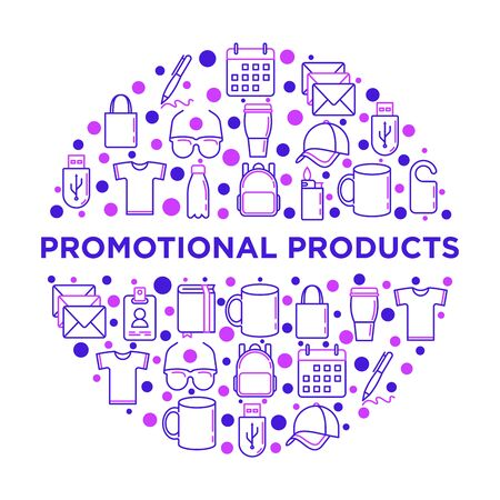 Promotional products concept in circle with thin line icons: notebook, tote bag, sunglasses, t-shirt, water bottle, pen, backpack, cup, hat, travel mug, usb. Vector illustration, print media template.