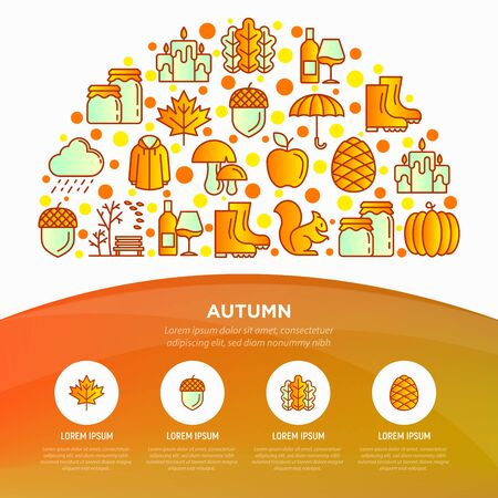 Autumn concept in half circle with thin line icons: maple, mushrooms, oak leaves, apple, pumpkin, umbrella, rain, candles, rubber boots, raincoat, squirrel. Vector illustration, print media template.
