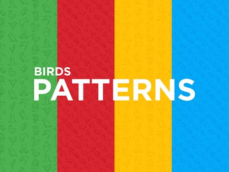 Four different Birds seamless patterns with thin line icons: dove, owl, penguin, sparrow, swallow, kiwi, parrot, eagle, humming bird, pink flamingo. Modern vector illustration.