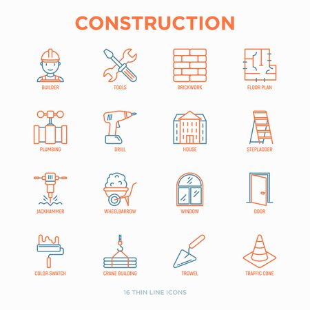 Construction thin line icons set: builder in helmet, work tools, brickwork, floor plan, plumbing, drill, trowel, traffic cone, building, stepladder, jackhammer, wheelbarrow. Vector illustration.