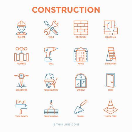 Construction thin line icons set: builder in helmet, work tools, brickwork, floor plan, plumbing, drill, trowel, traffic cone, building, stepladder, jackhammer, wheelbarrow. Vector illustration.