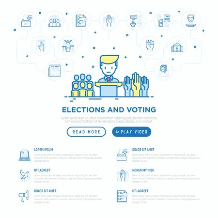 Election and voting concept with thin line icons: voters, ballot box, inauguration, corruption, debate, president, political victory. Vector illustration, web page template. Illustration