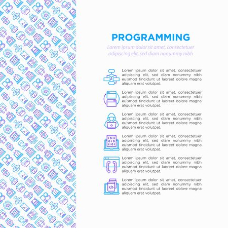 Programming concept with thin line icons: developer, code, algorithm, technical support, program setup, porting, compilation, app testing, virus, optimization. Vector illustration, web page template