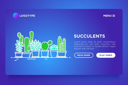 Cactus and succulents in pots concept with thin line icons. Modern vector illustration, web page template for shop of plants on gradient background. Ilustracja