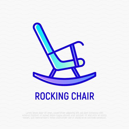 Rocking chair thin line icon. Modern vector illustration of furniture.