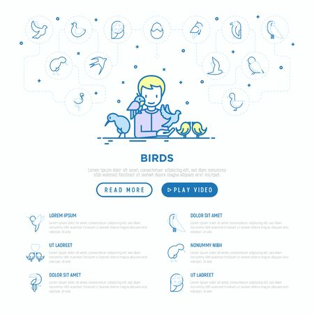 Ornithologist with different types of birds concept. Thin line icons: dove, seagull, kiwi, parrot, sparrow, humming bird. Vector illustration, web page template.  イラスト・ベクター素材