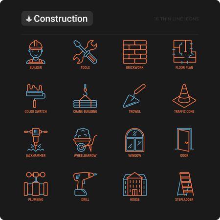 Construction thin line icons set: builder in helmet, work tools, brickwork, floor plan, plumbing, drill, trowel, traffic cone, building, stepladder, jackhammer, wheelbarrow. Modern vector illustration