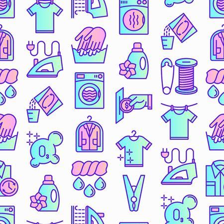 Laundry service seamless pattern with thin line icons: washing machine, spin cycle, drying machine, fabric softener, iron, handwash, washing powder, steaming, ozonation. Modern vector illustration.