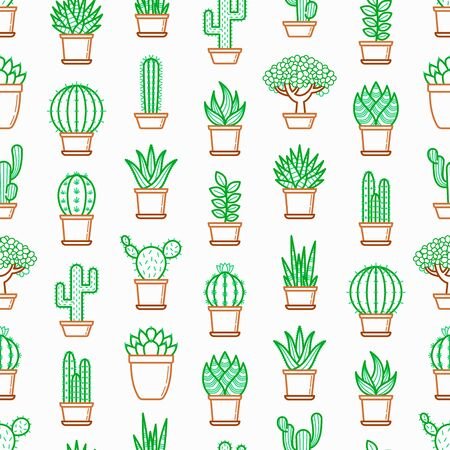 Cactus and succulents in pots seamless pattern with thin line icons. Modern vector illustration for shop of plants.