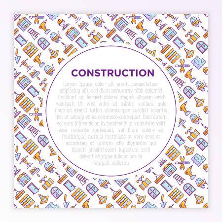 Construction concept with thin line icons: builder in helmet, work tools, brickwork, floor plan, plumbing, drill, trowel, traffic cone, stepladder, jackhammer. Vector illustration for print media. Ilustracja