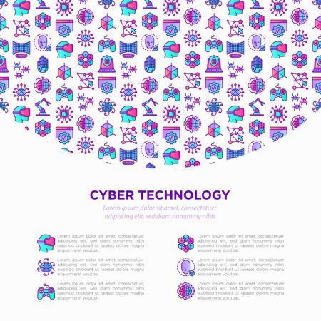 Cyber technology concept with thin line icons: ai, virtual reality glasses, bionics, robotics, global network, computer game, microprocessor, nano robots. Vector illustration, web page template.  イラスト・ベクター素材