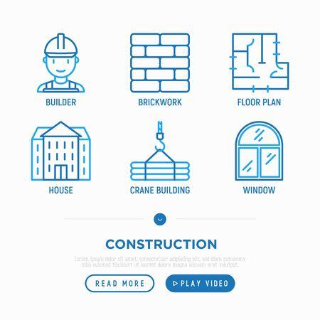 Construction thin line icons set: builder in helmet, brickwork, floor plan, window, crane, building. Vector illustration.