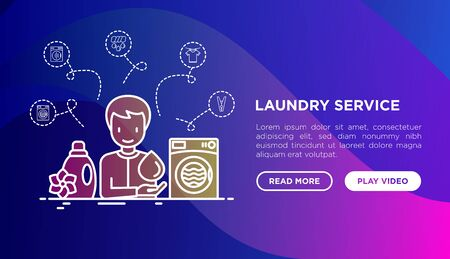 Laundry service concept thin line icons: washing machine, spin cycle, drying machine, fabric softener, handwash, washing powder, steaming. Vector illustration, web page template on gradient template.