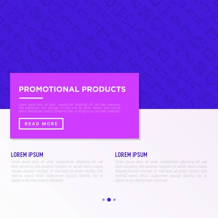 Promotional products concept with thin line icons: notebook, tote bag, sunglasses, t-shirt, water bottle, pen, backpack, cup, hat, travel mug, usb, lighter. Vector illustration, print media template. 일러스트