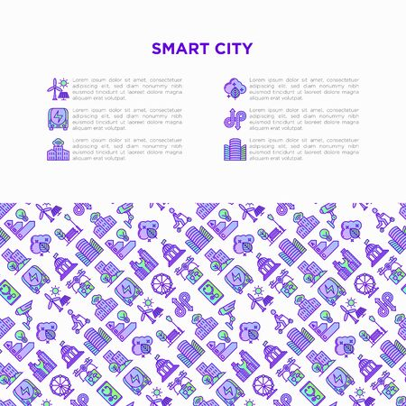 Smart city concept with  thin line icons: green energy, intelligent urbanism, efficient mobility, zero emission, electric transport, balanced traffic, CCTV. Vector illustration, print media template. Çizim