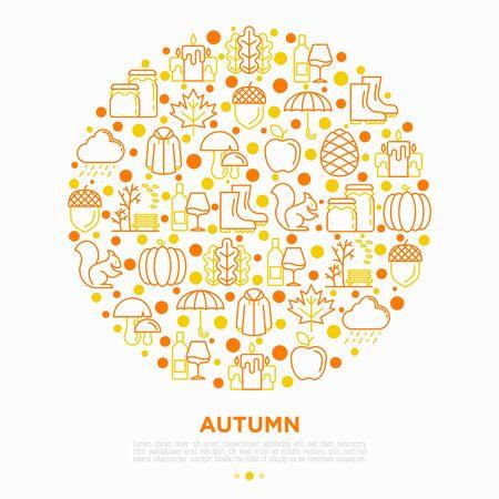 Autumn concept in circle with thin line icons: maple, mushrooms, oak leaves, apple, pumpkin, umbrella, rain, candles, acorn, rubber boots, raincoat, pinecone. Vector illustration, print media template Ilustracja