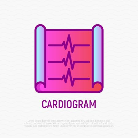 Cardiogram thin line icon. Modern vector illustration of EKG with heart beat.