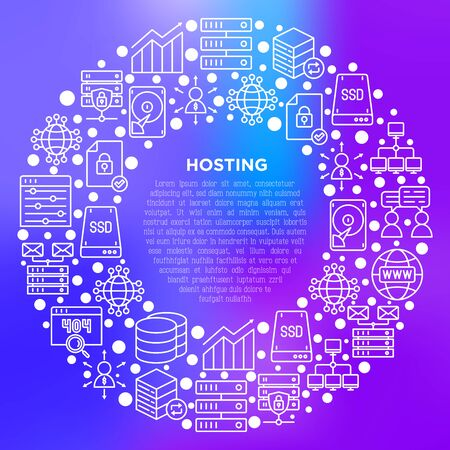 Hosting concept in circle with thin line icons: VPS, customer support, domain name, automated backup, SSD, control panel, secure server, local network, SSL. Vector illustration for print media.