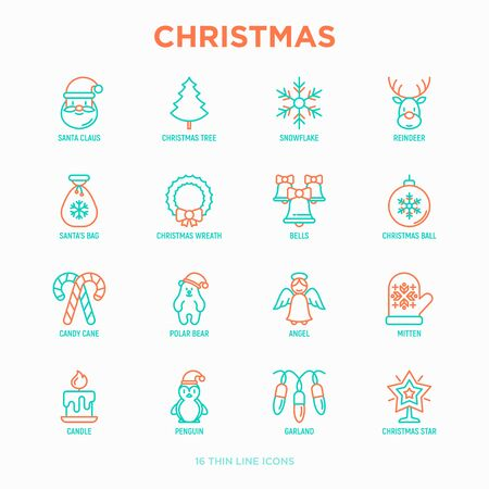 Christmas thin line icons set: Santa Claus, snowflake, reindeer, wreath, bells, decoration, candy cane, polar bear in hat, angel, mitten, candle, penguin, garland. Modern vector illustration.