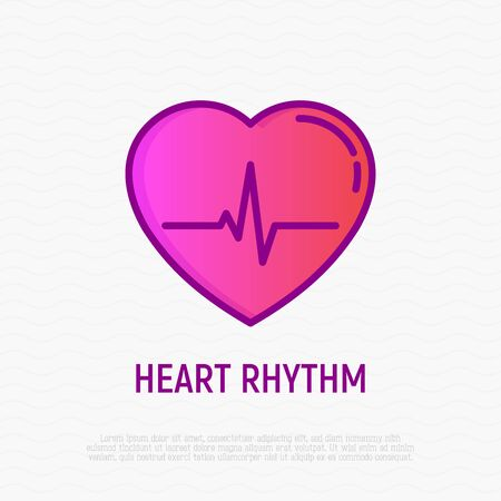 Heart rhythm thin line icon. Modern vector illustration of ECG. Illustration