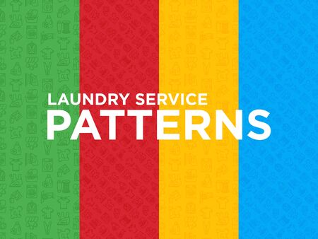 Four different Laundry service seamless patterns with thin line icons: washing machine, spin cycle, drying machine, fabric softener, iron, handwash, washing powder. Modern vector illustration.