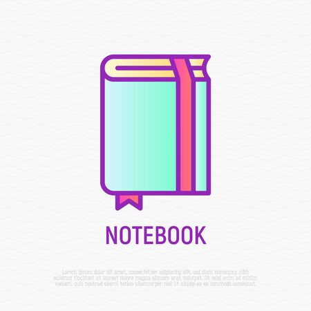 Notebook with bookmark thin line icon. Modern vector illustration. 일러스트