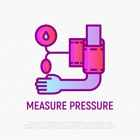 Measure pressure thin line icon: tonometer on hand. Modern vector illustration of medical procedure. Stock Vector - 128992029