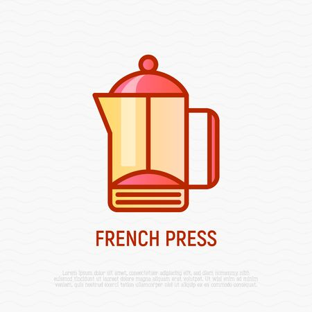 French press thin line icon. Modern vector illustration of kitchen utensil.