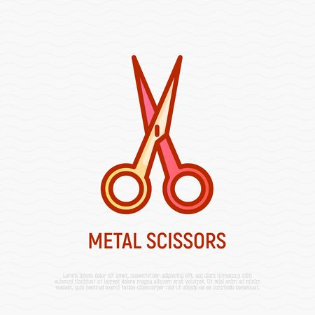 Metal scissors thin line icon. Modern vector