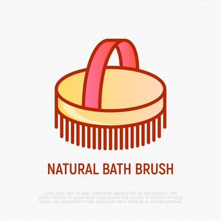 Natural bath brush thin line icon. Modern vector for body care. 일러스트