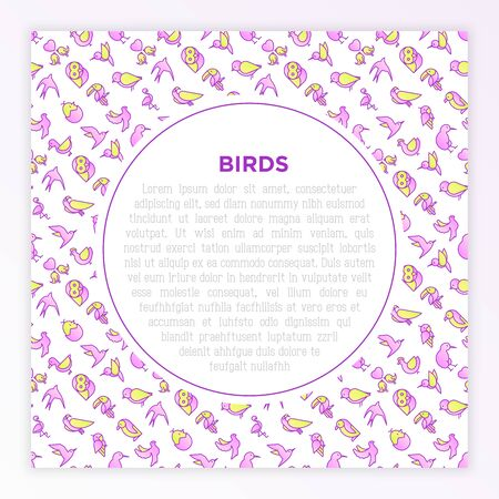Birds concept with thin line icons: dove, owl, penguin, sparrow, swallow, kiwi, parrot, eagle, humming bird, pink flamingo. Modern vector illustration, print media template.