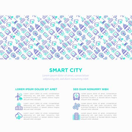 Smart city concept with  thin line icons: green energy, intelligent urbanism, efficient mobility, zero emission, electric transport, balanced traffic, CCTV. Vector illustration, print media template. 일러스트