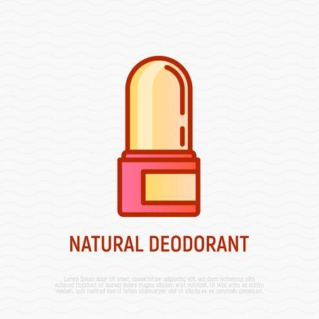 Natural deodorant thin line icon. Modern vector illustration of organic skincare. Ilustrace