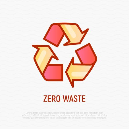 Zero waste, recycling sign. Thin line icon. Modern vector illustration.