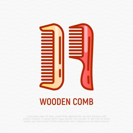 Wooden comb thin line icon. Modern vector illustration