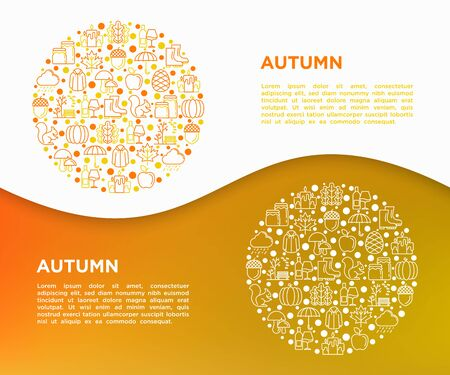 Autumn concept in circle with thin line icons: maple, mushrooms, oak leaves, apple, pumpkin, umbrella, rain, candles, acorn, rubber boots, raincoat, pinecone. Vector illustration, print media template 일러스트