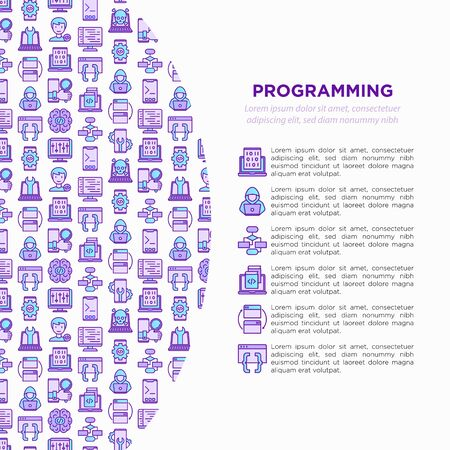Programming concept with thin line icons: developer, code, algorithm, technical support, program setup, porting, compilation, app testing, virus. Vector illustration, print media template.