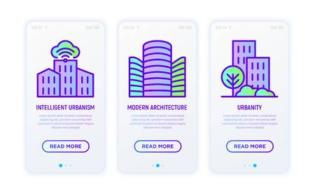 Smart city thin line icons set: intelligent urbanism, modern architecture, urbanity. Vector illustration for user mobile interface. 일러스트