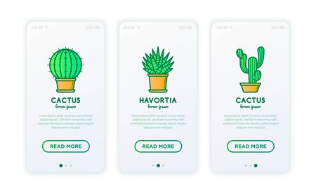 Cactus and succelents in pots thin line icons set. Modern vector illustration for shop of plants.